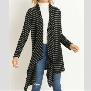 GILLI Black & Gray Open Cardigan Sweater NWT